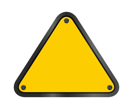 yellow triangle emblem notice isolated on white background, empty warning sign template, blank triangle emblem notice for warning sign, logo, symbol and text, illustration for design and copy space