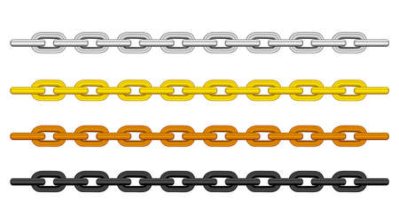 silver chain, gold chain, copper metal chain and black steel chains set isolated on black background, illustration chains