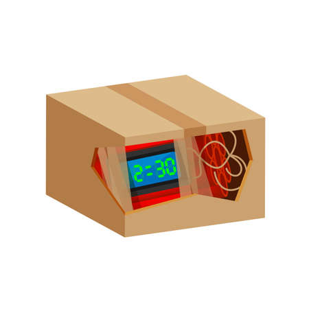 blast bomb of terrorist in the crate box waste isolated on white, explode a bomb dynamite with clock dial, red bomb drop and explosive is going to explode and blow up after countdown to blast Illustration
