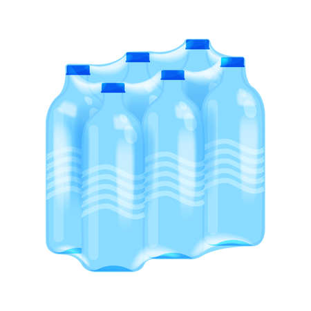 drinking water bottle six pack in plastic wrap isolated on white, bottle water drink in shrink film clear plastic wrap, packs 6 drinking water bottles plastic in wrapped, PET packed bottled six pieces