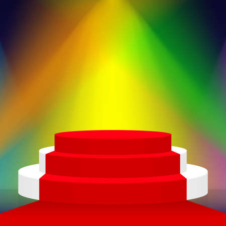 empty stage with red carpet ground and lights colorful, podium stage and spotlight beam, pedestal floor and lighting beam bright shine for copy space award scene, platform pedestal of winner success