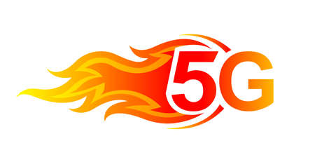 5G logo font and fire flame for hot icon, numbers 5G and fire burn for technology future, 5G alphabet for business digital network global concept Logo