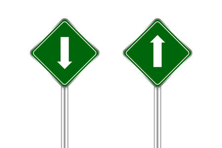 road sign green and white arrow pointing up and down, traffic road sign green isolated on white, green traffic sign ahead and down, warning caution sign and steel pole for direction signpost the way Illusztráció