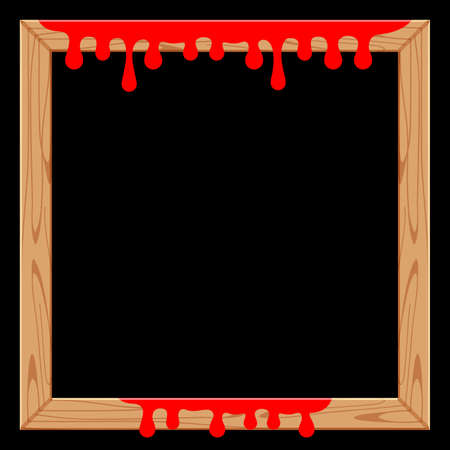 wooden frame with red blood drips and black for copy space, halloween background, red blood dripping on the wood frame for banner, halloween red bleed stain drips, dripping blood, bleeding bloody drop