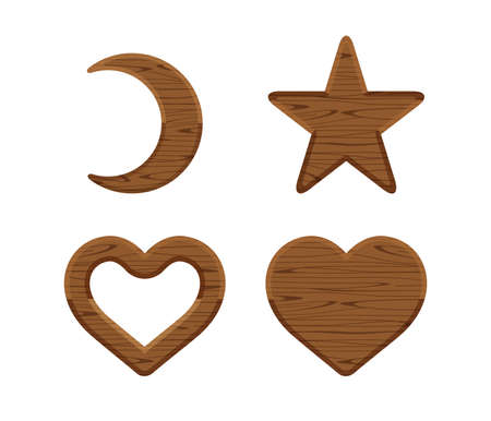 wooden crescent moon, star wood cute, heart shaped wood, wooden heart frame shape dark brown retro, different shapes wooden cut out for vintage decoration, wood plank star and crescent moon and heart Stockfoto - 144347653
