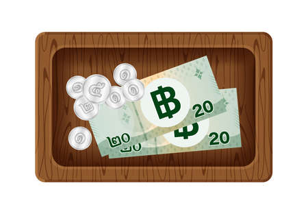 banknote money 20 baht thai and token coin on wood tray, money with giving tip concept, banknote and coin money wooden plate isolated on white, thailand money baht on for give thanks service mind