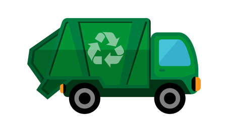 garbage truck isolated on white background, clip art of recycle truck waste management, garbage truck icon simple, illustration garbage truck green for flat infographic symbol Ilustracje wektorowe