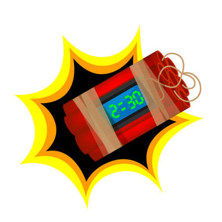 blast terrorist bomb isolated on white background, explode a bomb dynamite with clock dial, red bomb drop and explosive is going to explode and blow up after countdown, time bomb about to blast Illustration