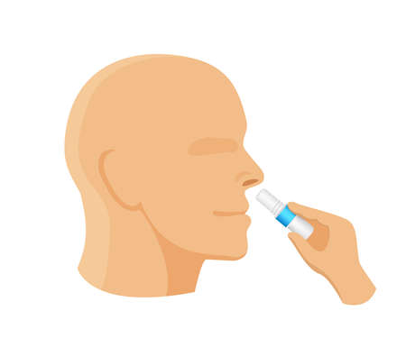 inhaler in hand with gesture of inhaling the smell, clip art of smelling salt and sniffing, a man gesture of inhale and exhale, inhaler tube or smelling salt isolated on white background