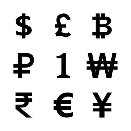money symbol black set isolated on white, international currency icon graphic flat, golden money symbol for financial clip art, money currency sign others, dollar, euro, baht, yen, one, 1, won, rupee