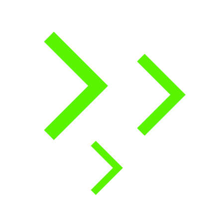 right arrowhead bright green simple for icon, cursor bright green simple sign, modern arrow rectangular right pointer for navigation, button media for next play video movie, graphic pointer up sign Иллюстрация