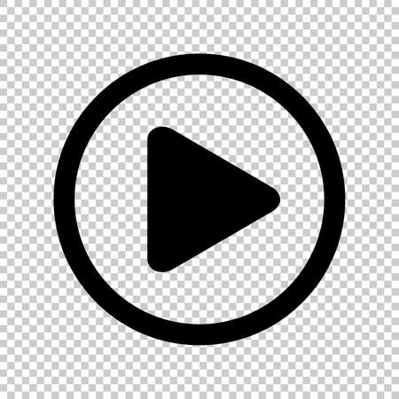 circle play icon for video isolated and transparent, flat button play media, icon play for music and video app, simple black play sign for ui application audio or movie, player button of interface