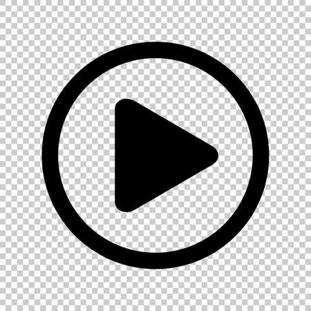 Kreiswiedergabesymbol für Video isoliert und transparent, flache Schaltfläche zum Abspielen von Medien, Symbolwiedergabe für Musik- und Video-App, einfaches schwarzes Wiedergabezeichen für Audio oder Film der UI-Anwendung, Player-Taste der Benutzeroberfläche