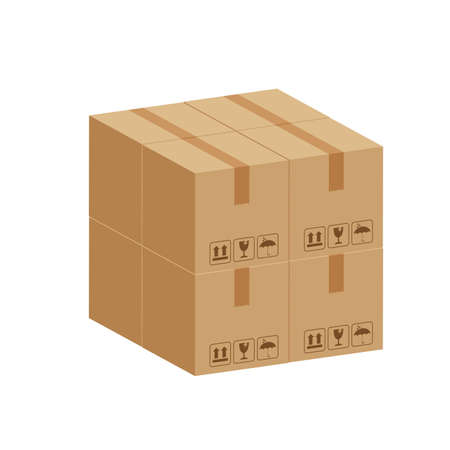pile crate boxes 3d cube, stack of cardboard box in factory warehouse storage, cardboard parcel boxes stack of warehouse factory, packaging cargo, boxes brown isolated on white background