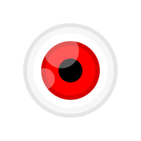 eyeball red color isolated on white, eye graphic red for icon, eyeball illustration for clip art, eyesight symbol, eyeball cartoon for look view vision and see concept