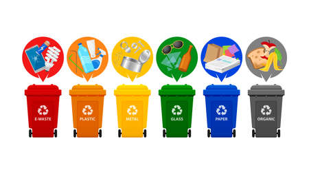 recycle bin types, garbage sort e-waste, plastic waste, metal, glass, paper and organic waste, front view set of plastic rubbish bin for recycling different types waste, garbage bins isolated on white Vektorgrafik