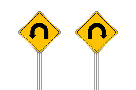 road sign of arrow pointing left and right u-turn, traffic road sign u-turn left and right isolated on white, warning caution sign on steel pole for direction signpost on way, traffic road sign yellow Vecteurs