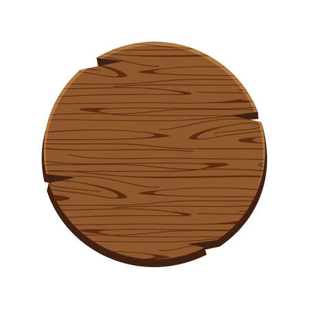 circle wood oak sign isolated on white, round wooden sign old, signboard wood curved, circle wood panel frame cartoon style, wood plank brown vintage, empty wooden signpost for copy space message text