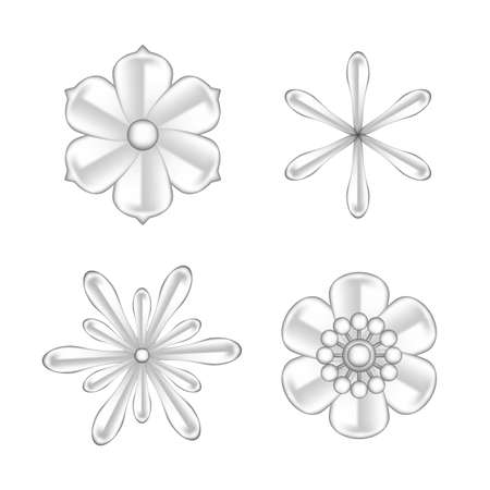 collection flowers silver ornate isolated on white background, luxury flower petal silver set, silver flowers object metal sculpture, illustration of deluxe silver flower, clip art flowers luxurious