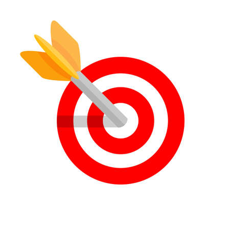 arrow shooting in circle red for target aiming isolated on white, aiming arrow shooting target sign for business goal success, icon sport game arrows shooting, arrow aim in red dart point focus target