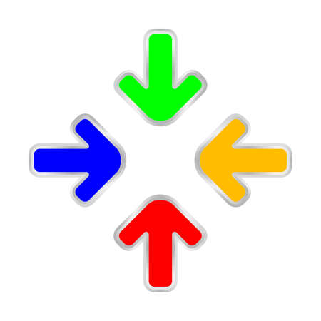 colorful expand arrow icon isolated on white, arrows pointing zoom in, expand arrow icon for resizes, drag arrow for all direction app, arrows pointer cursor of mouse symbol, expanding icon interface