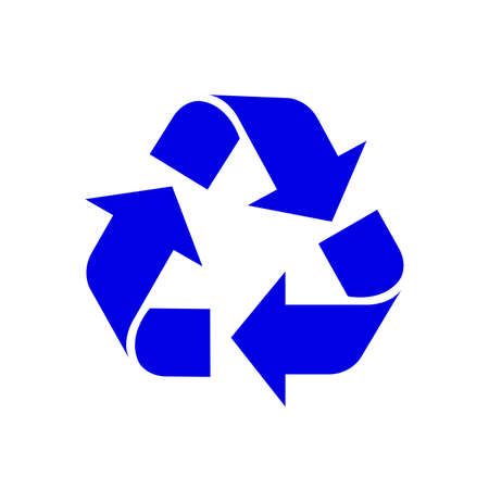 recycle symbol blue isolated on white background, blue ecology icon sign, blue arrow shape for recycle icon garbage waste, recycle symbol for ecological conservation