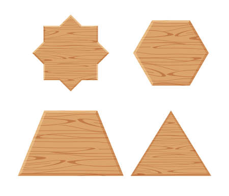 wooden plank different collection isolated on white background, wooden eight pointed star, trapezoid wood shaped plank dark brown, wooden triangular pyramid panel, hexagon wood shape Stock Illustratie