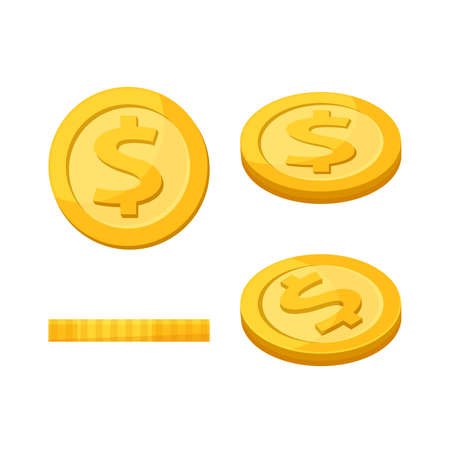Golden medal dollar coin isolated on white background, Dollar coin gold icon, Medal dollar gold sign, Money coin financial symbol illustration, Currency coin symbol of business finance, Medal cartoon
