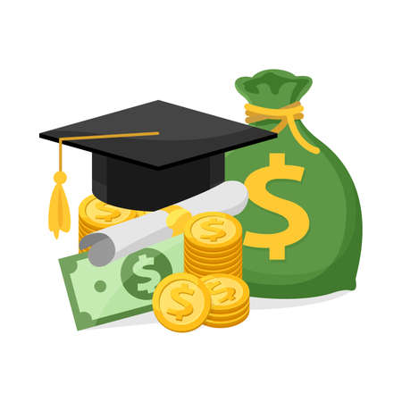 money and graduation hat isolated on white background, illustration flat for education success and money business, money and certificate graduation and successful, money icon for scholarship concept
