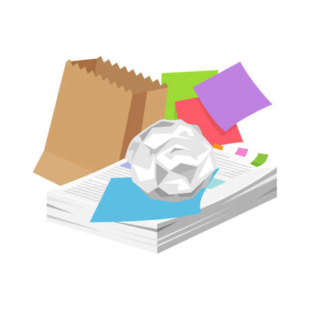 paper waste many isolated on white background, pile of paper garbage for recycling, waste paper or rubbish recycle document office, illustration paper waste garbage for recycle and separation Illustration
