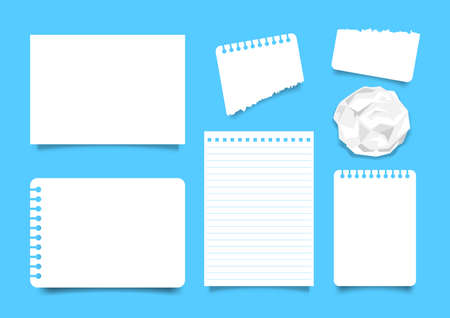 white paper sheet set isoloated on blue background, note paper a4 blank, empty papers template, set of worksheet book for note, flat lay papers, illustration paper sheet top view, notepaper postcard