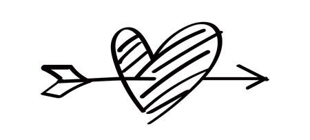 heart shape with arrow line isolated on white, heart pierced by an arrow for valentine's day concept, arrow and heart for clip art black line, arrows hitting a heart shaped target