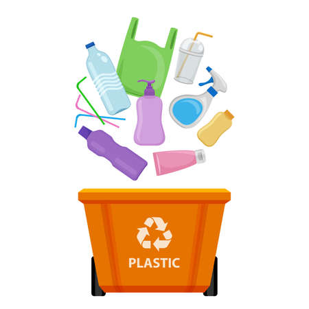 plastic waste and orange recycling plastic bin isolated on white background, bin and plastic collection garbage, waste plastic bottle and straws tube, illustration clip art bin, 3r garbage