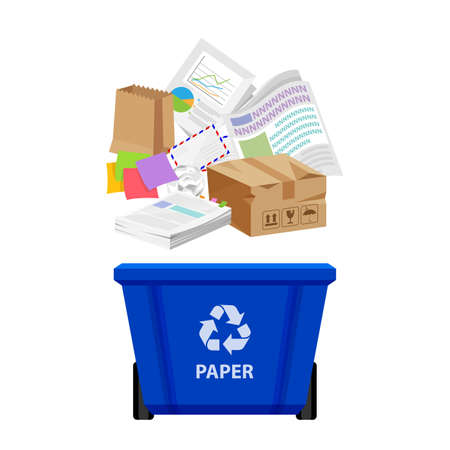 paper waste and blue recycling plastic bin isolated on white background, plastic bin and paper recycling garbage, waste paper trash, illustration clip art bin, 3r garbage