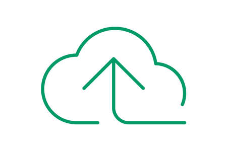 cloud and arrow symbol for icon with line thin, simple line arrow up green cloud, icons add data to cloud for ui ux website or mobile application, cloud for upload download, element of storage network
