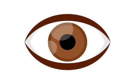 eye brown icon isolated on white background, illustration eyeball brown for health care concept, brown eye for graphic logo, eye redness for eyesight, see, vision, look, view and optical symbol