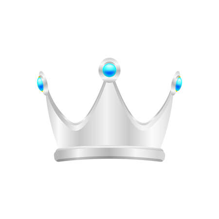 silver crown isolated on white, circle crown silver icon, vintage silver crown luxury for ornament royal king or queen, crown silver symbol and diamond jewelry decoration