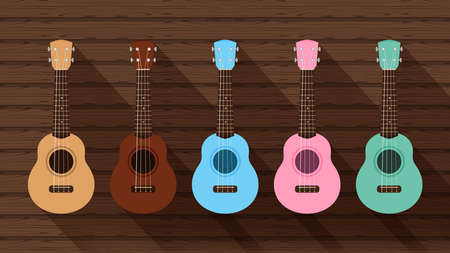 ukulele cute collection on the wood wall, small ukelele pastel color for flat icon, realistic ukelele set for classical music play, ukulele classic retro style in holiday summer concept, small guitar Çizim