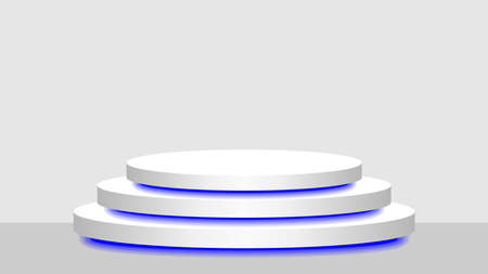 circle pedestal 3d white and blue light neon lamp glowing, cosmetics display modern and led light, podium stage show for position decor blue fluorescent glow light, pedestal box for product place