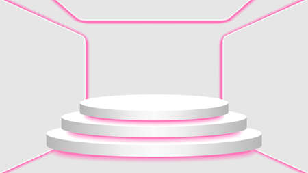 pedestal 3d and pink light neon lamp glowing in empty interior room, cosmetics display modern and LED light, podium stage and pink fluorescent glow light decor, pedestal circle for product place
