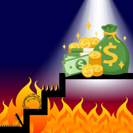 money on the stairs with the flame trap financial obstacles concept, pile of money and flame trap, money and bonfire barbed tine wire for obstacles and goals wealth