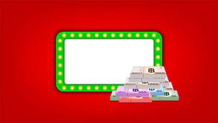 pile banknote money thai baht and green glowing frame for banner background, money THB and casino vintage frame sign, copy space, banknote money and glowing frame sign Ilustrace