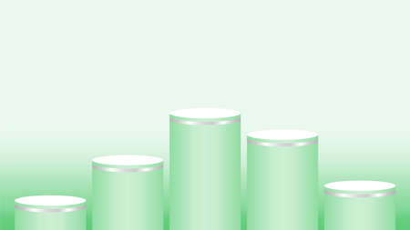 green pedestal cylinder circle five steps for cosmetics showcase, podium circle stage green pastel soft color, platform 5 steps for advertising copy space, podium round five layers for product display Illusztráció