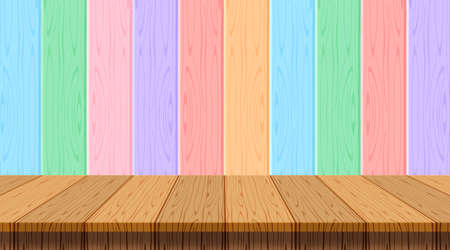 wood plank empty on wooden wall pastel soft background for copy space, table wood on wall rainbow soft color, wood plank front view for banner, wooden table on pastel wall strip, plank colorful soft Векторная Иллюстрация
