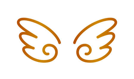 angel wings icon copper isolated on white background, cute cartoon wing and ornate, clip art angel wings shape for logo, luxury copper color angel wings for freedom symbol, illustration wing