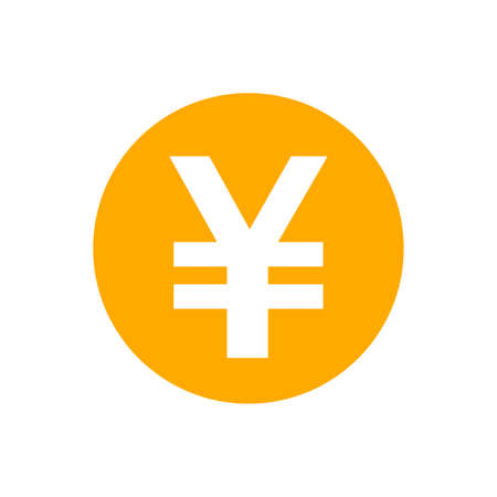 yen currency coin orange for icon isolated on white, yen money for app symbol, simple flat yen money, currency digital yen coin for financial concept