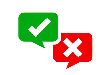 check mark sign in speech bubble square isolated on white, checkmark yes or no vote in speech box symbol, correct choice x or confirm and deny icon, cross or right for question, label talk ok and deny Ilustrace