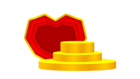 luxury pedestal gold 3d and red heart shape, gold pedestal circle box for cosmetics product display show, deluxe golden podium stage show, circle stand of product place decoration isolated on white
