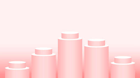 pedestal cylinder circle five steps for cosmetics showcase, podium circle stage red pink soft pastel color, platform 5 steps and advertising copy space, podium round five layers of product display Illusztráció