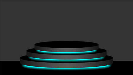 circle pedestal 3d black and light blue neon lamp glowing, cosmetics display modern and led light, podium stage show for position decor blue fluorescent glow light, pedestal box for product place